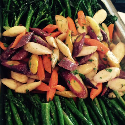 Asparagus, Broccolini and Rainbow Carrots