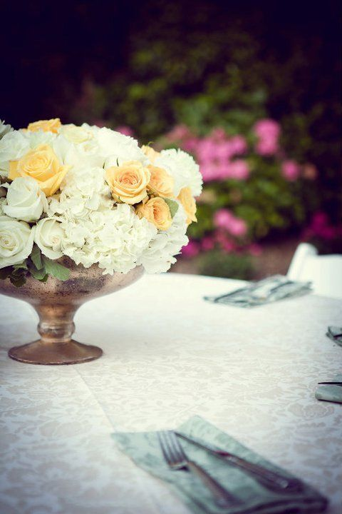white and yellow table setting